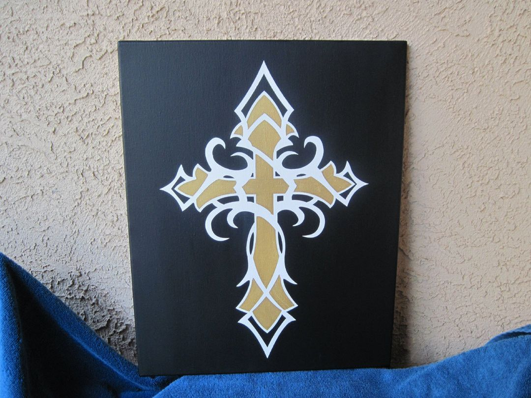 16 X 20 Religious Tribal Cross Painting Wall Art Canvas Quote Typography