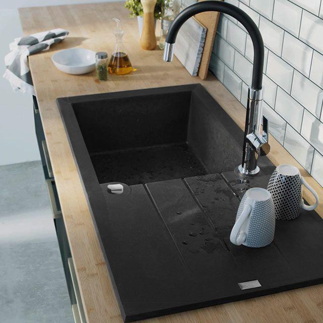 vier encastrer 1 cuve noir calci castorama deco pinterest castorama viers et noir. Black Bedroom Furniture Sets. Home Design Ideas