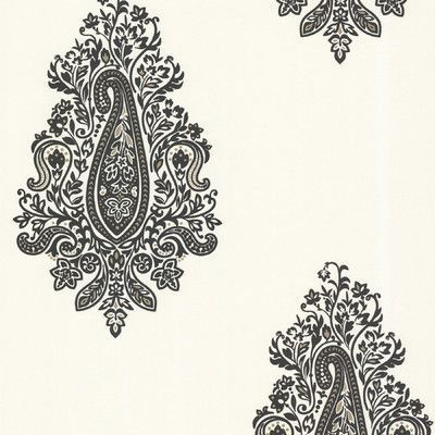 "Brewster Home Fashions Zinc Dynasty 33' x 20.5"" Damask 3D Embossed Wallpaper Color: Black"