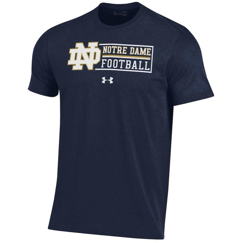 more photos 6f734 1ac11 Notre Dame Fighting Irish Under Armour Sideline Football Wordmark Performance  T-Shirt – Navy