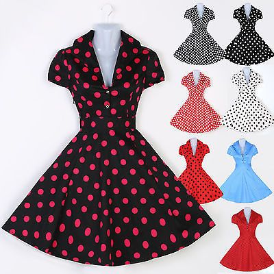 Vintage Retro Polka dot Swing 1950's 60's Housewife Pinup ...