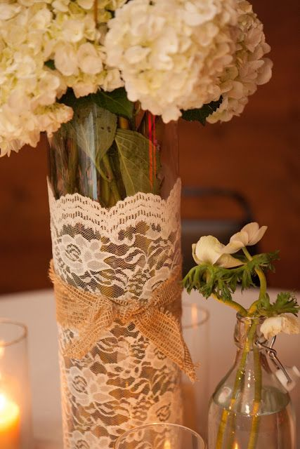 Tall Vase With White Lace And Hessian Or Burlap Wrap Diy Wedding