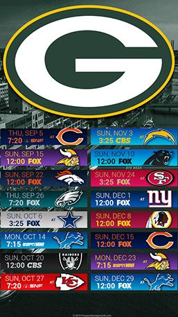Green Bay Packers 2019 Mobile City NFL Schedule Wallpaper