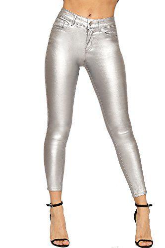 WearAll - Femmes Maigre Jambe Poche Métallique Recouvert Élevé Waisted  Étendue Dames Jeans - Argent - 36 31fde8b3107