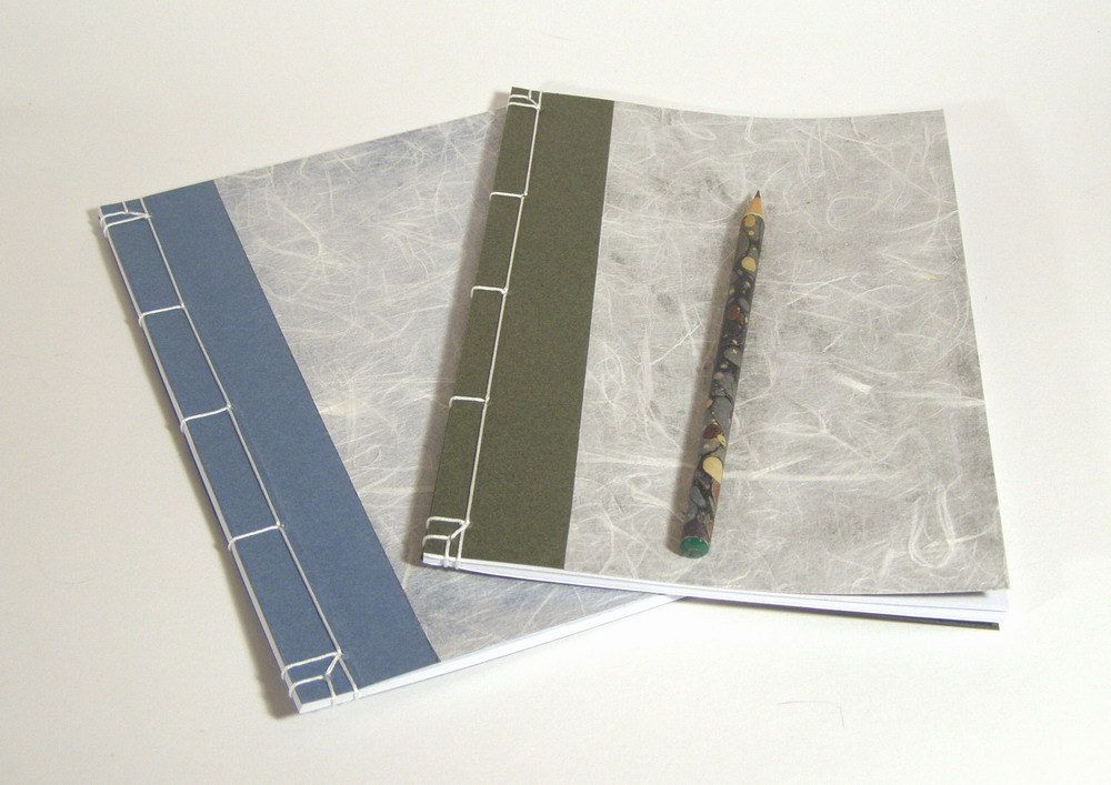 Japanese Notebooks Green, Blue and White Set of two A5, via Etsy.