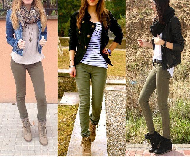 7cb083444b Image result for como combinar pantalon verde militar mujer