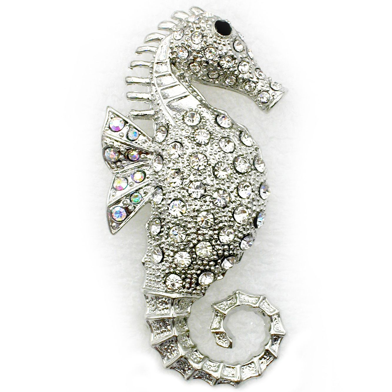 Fashion Apparel Rhinestone Crystal Seahorse Brooch Pin Brooch ...