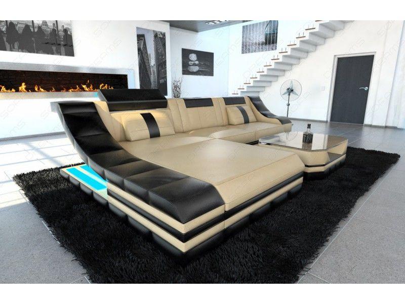 Leder Wohnlandschaft Prato Xxl Mit Led Beleuchtung Rgb Furniture