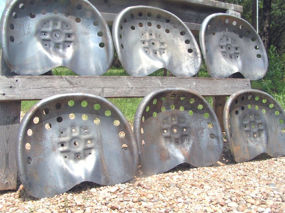 Six Steel Tractor Seats Metal Farm Or Bar Stool Tops Pan Style