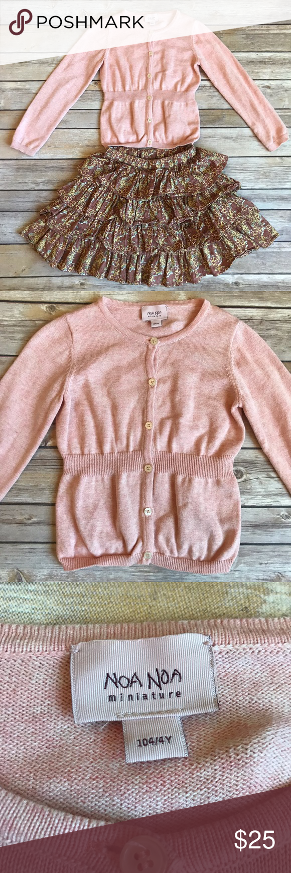 Noa Noa Size 4 beautiful Noa Noa pink cotton cardigan sweater and coordinating tiered twirl skirt with floral print and elastic waistband. No stains or flaws. Very good condition. Such an adorable outfit!! Noa Noa Matching Sets #twirlskirt Noa Noa Size 4 beautiful Noa Noa pink cotton cardigan sweater and coordinating tiered twirl skirt with floral print and elastic waistband. No stains or flaws. Very good condition. Such an adorable outfit!! Noa Noa Matching Sets #twirlskirt