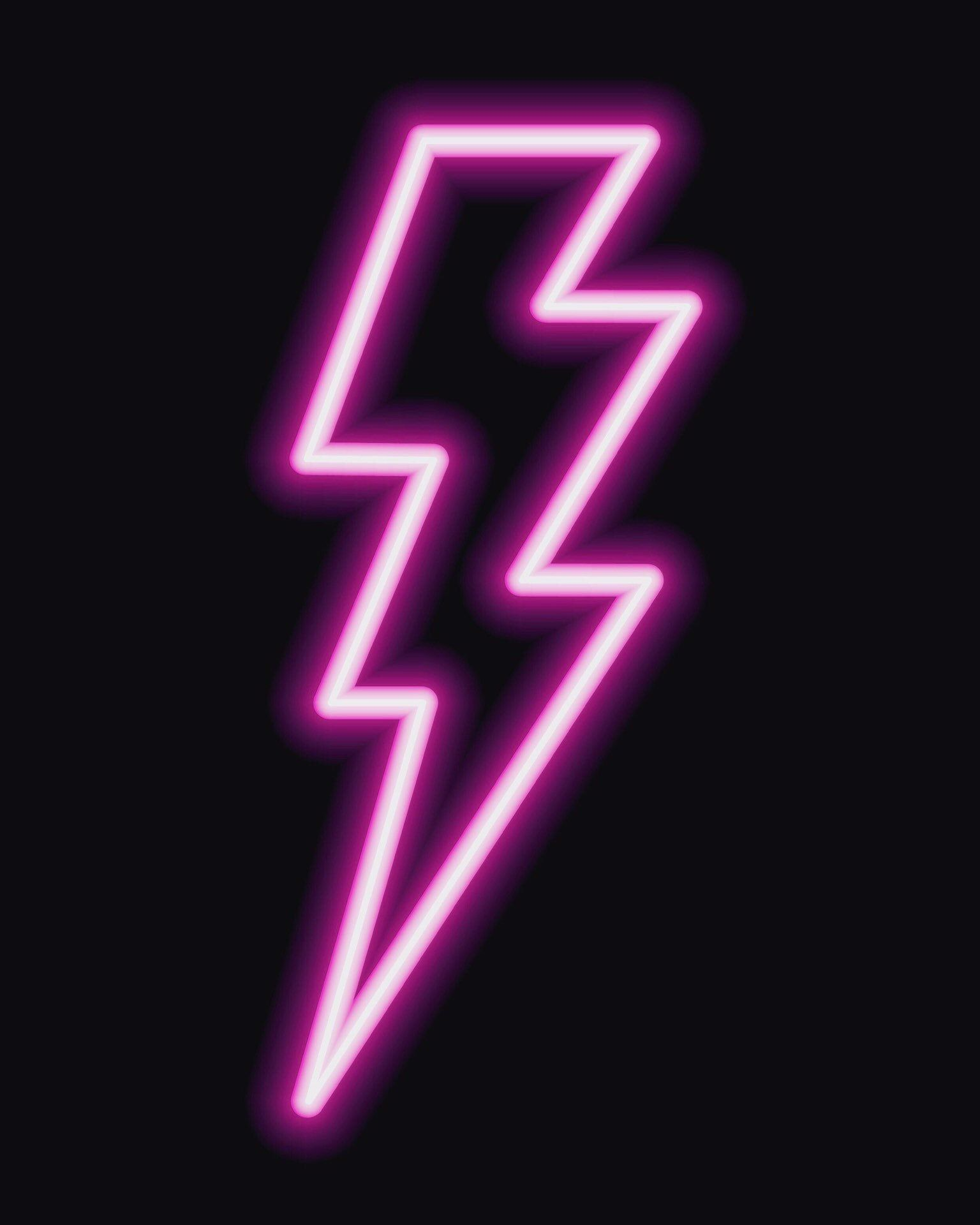 Neon lightening Sign superhero Bolt A4 Fashion Kids room