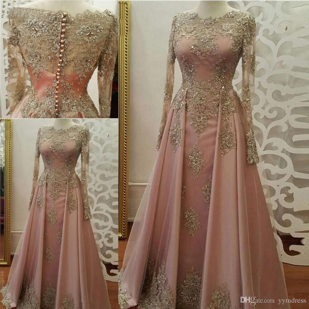 Blush rose gold evening dresses for women wear long sleeve lace
