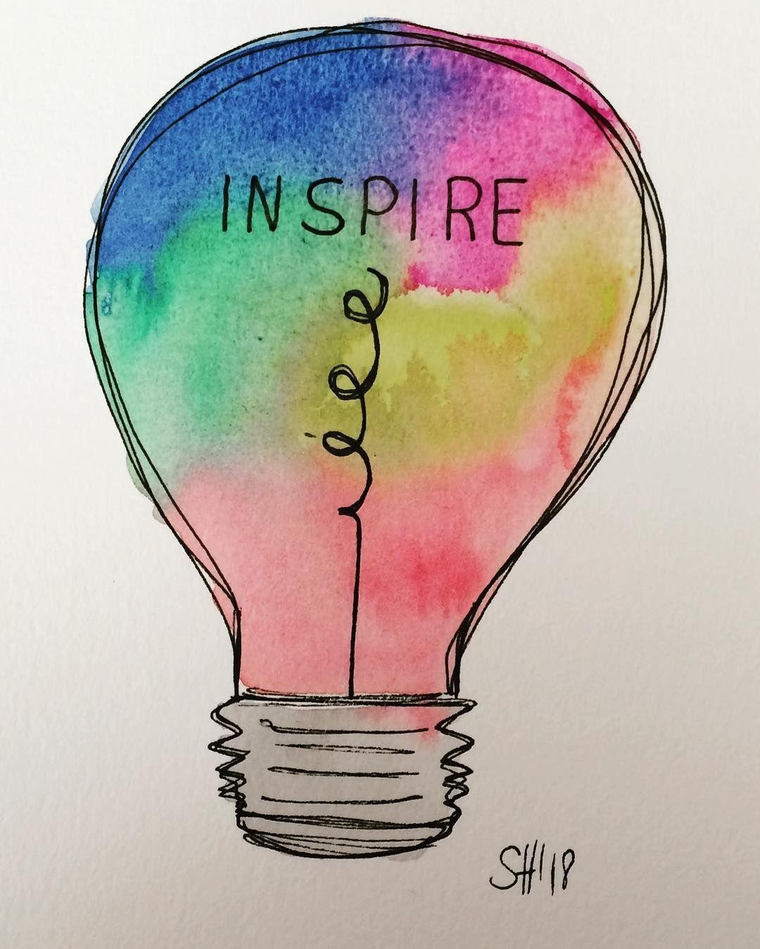 Light Lightbulb Inspiration Inspire Aquarell Handmade Handlettering Handgemalt Gluhbirne Inspiration Inspi Aquarell Selber Malen Gluhbirne Zeichnung