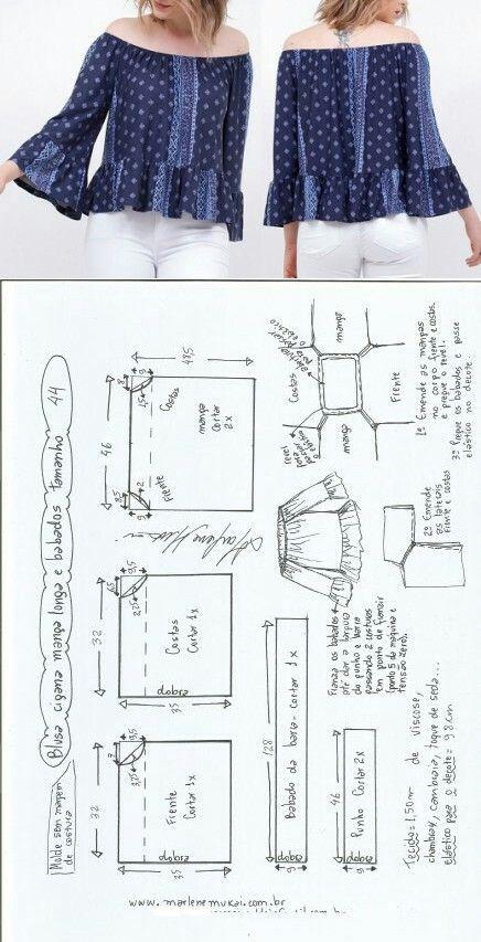 Blusa ciganinha manga longa e babado   Blusas, Costura y Patrones