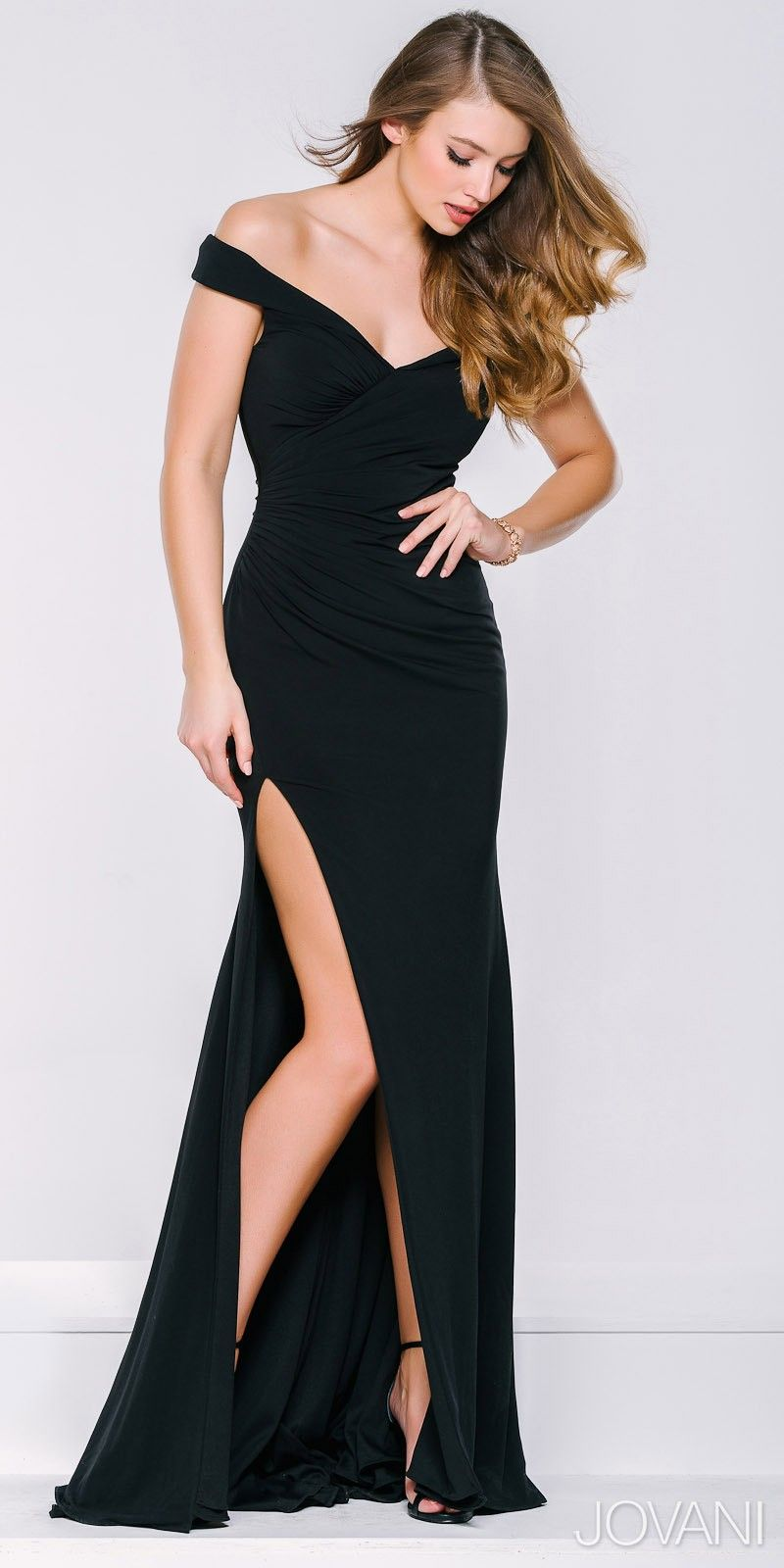High Slit Off The Shoulder Ruched Evening Dress By Jovani Formal