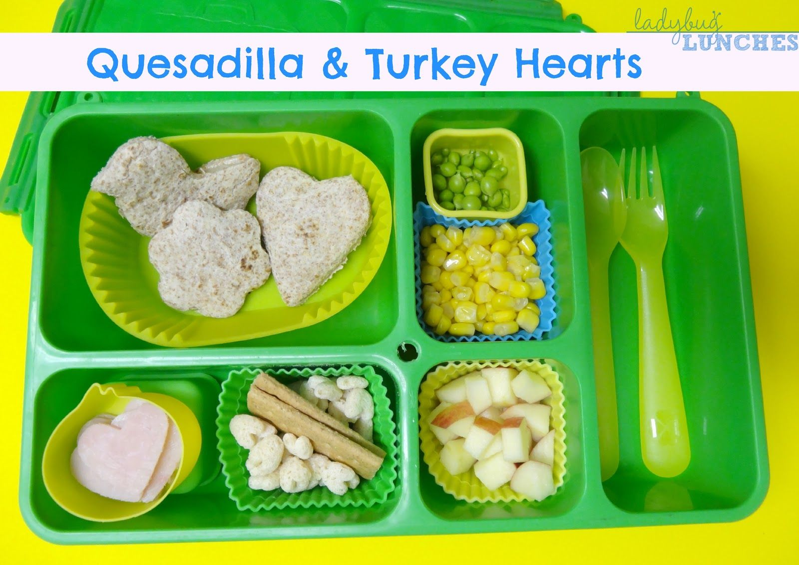 Ladybug Lunches, Quesadilla & Turkey Hearts, Go Green Lunch Box, Fun and Creative Lunch