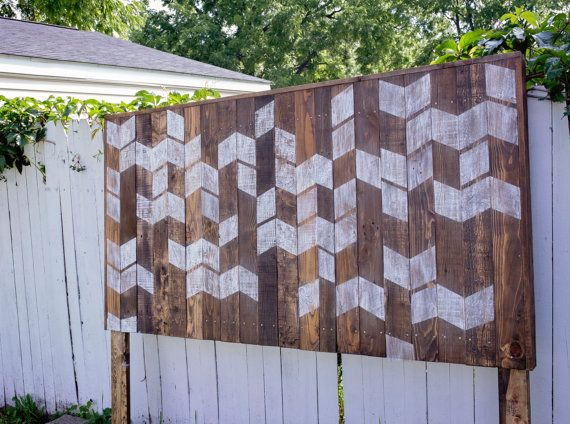 Rustic White Distressed Chevron Headboard by HolliMox on Etsy