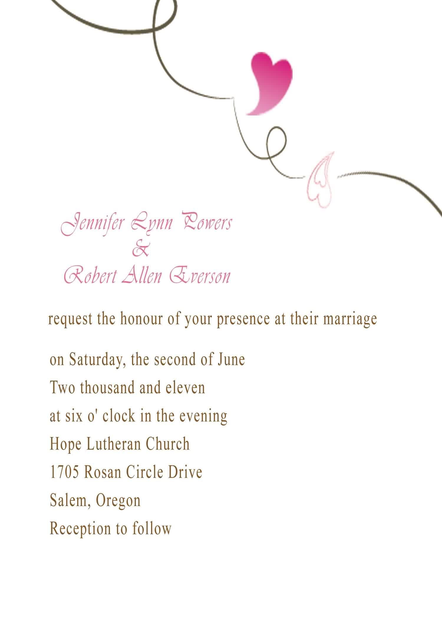 Simple And Elegant Heart Wedding Invitation Iwi  Wedding