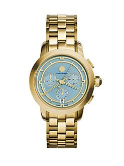 Tory Burch - Tory Goldtone Stainless Steel Chronograph Bracelet Watch/Light Blue