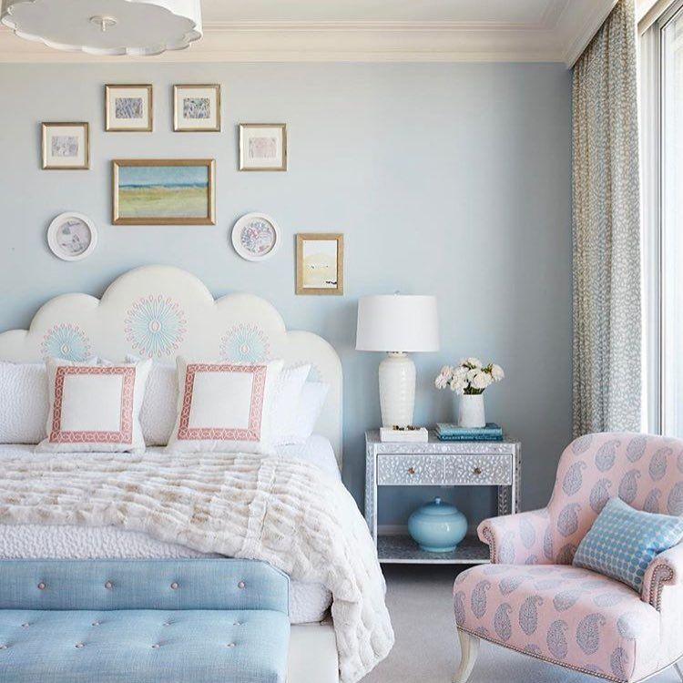 Light Blue Bedroom Inspiration White Bed White Scalloped
