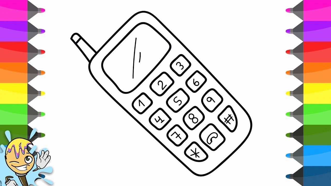Cell Phone Coloring Page Unique How To Draw Mobile Phone Coloring Pages Learning Drawing Crea Coloring Pages Curious George Coloring Pages Candy Coloring Pages