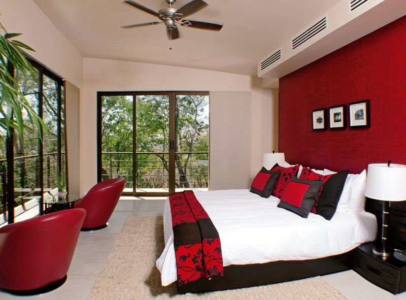 Red Bedroom Theme At Contemporary Home Architecture With Elegant Interior Decoration Calle Cabo In Costa Rica