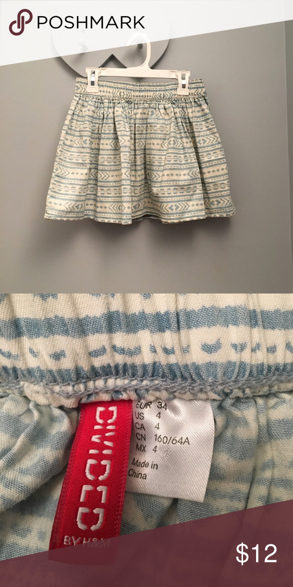 Aztec print skater skirt Light blue and off white skirt. Super cute for spring or summer with a white crop top! Labeled as a 4 but fits like a small. Worn a few times Divided Skirts Circle & Skater