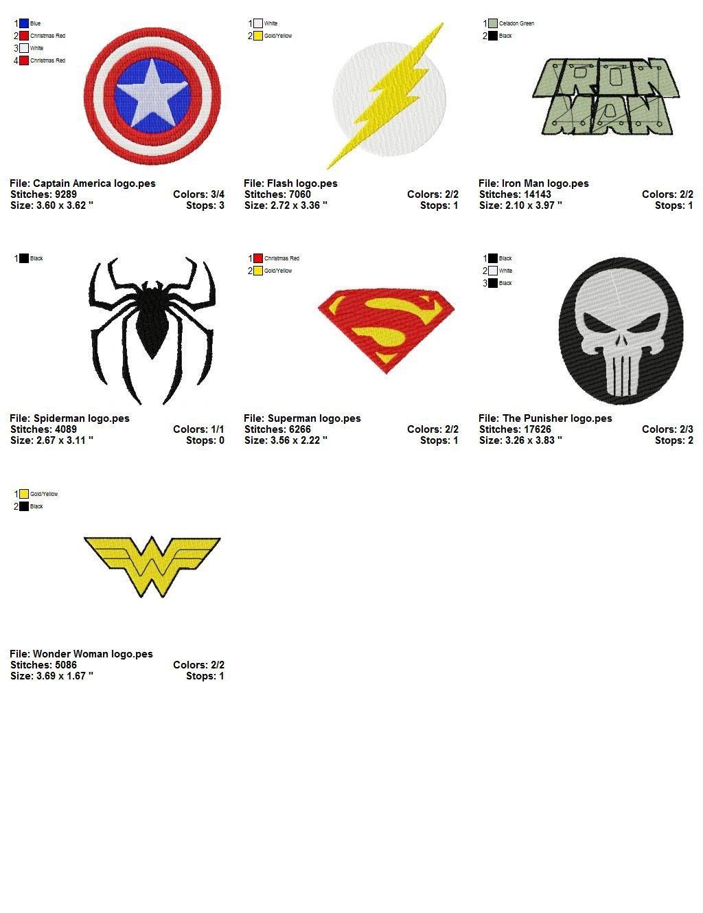 Super heroes logo embroidery designs l superheroes