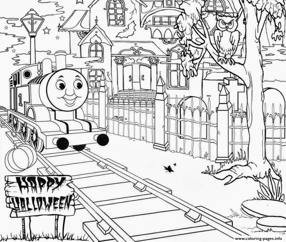 Print Haunted Thomas The Train Halloween S25f6 Coloring Pages Thomas De Trein Trein Kleuren
