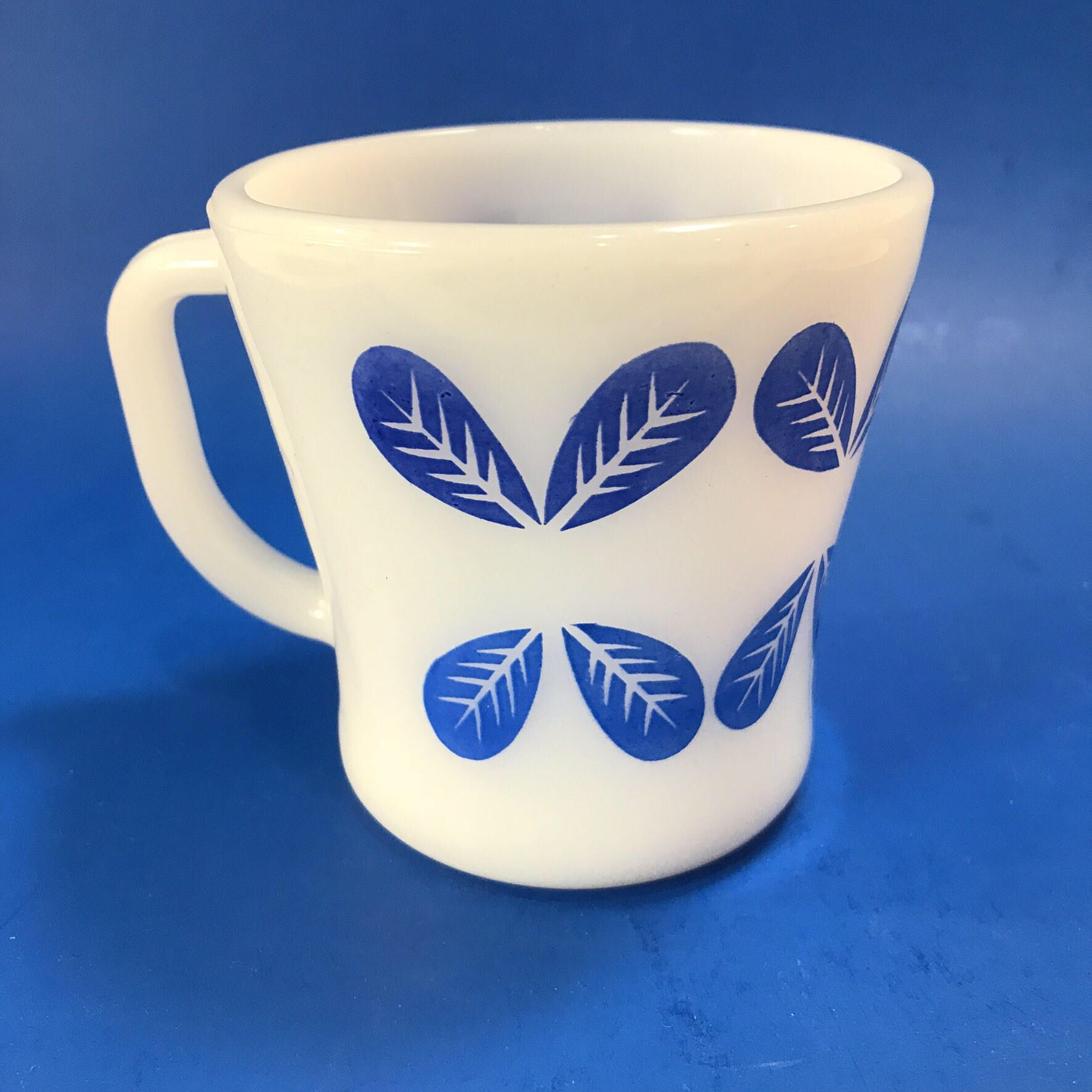 Vintage Federal Glass Coffee Mug White With Blue Petals