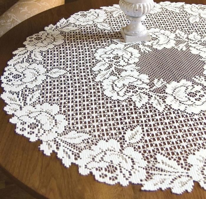 Heritage Lace Cottage Rose30 Inch Round Lace Table Topper Ecru 100%  Polyester. Machine Wash