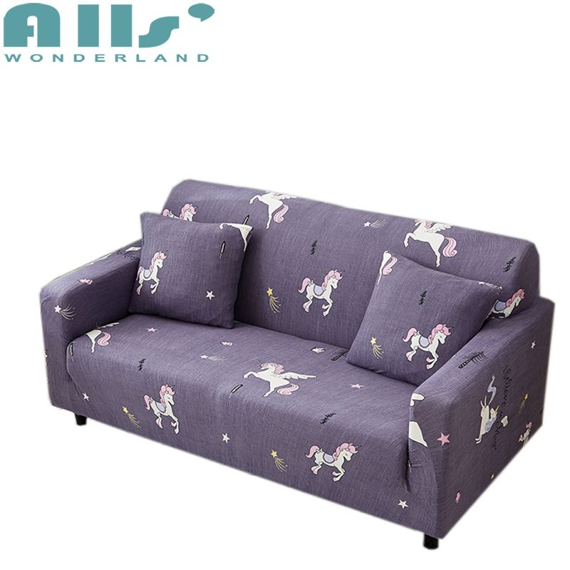 Unicorn Printed Universal Stretch Furniture Covers For Living Room Purple Couch Sofa Slipcovers Home Cartoon Sliprcover Sofacover