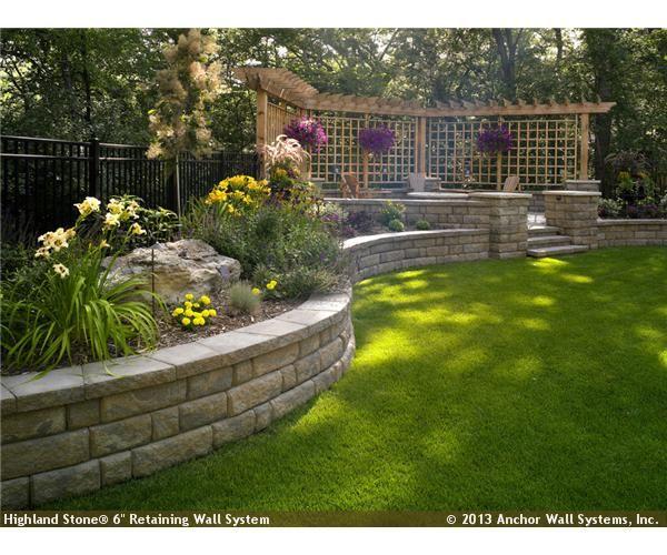 Pin By Anita Opal On Outdoor Spaces Sloped Backyard Backyard Retaining Walls Backyard Landscaping
