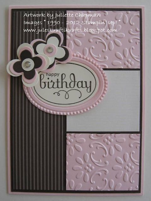 Pretty Birthday Card In Pink Black White The Embossing And Non