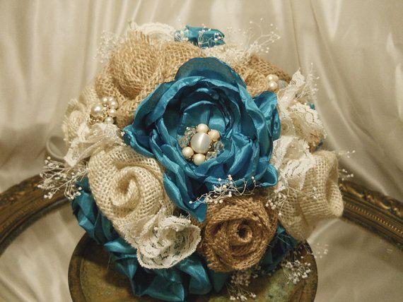 Burlap & Silk Turquoise Bridal Wedding Bouquet == color scheme?