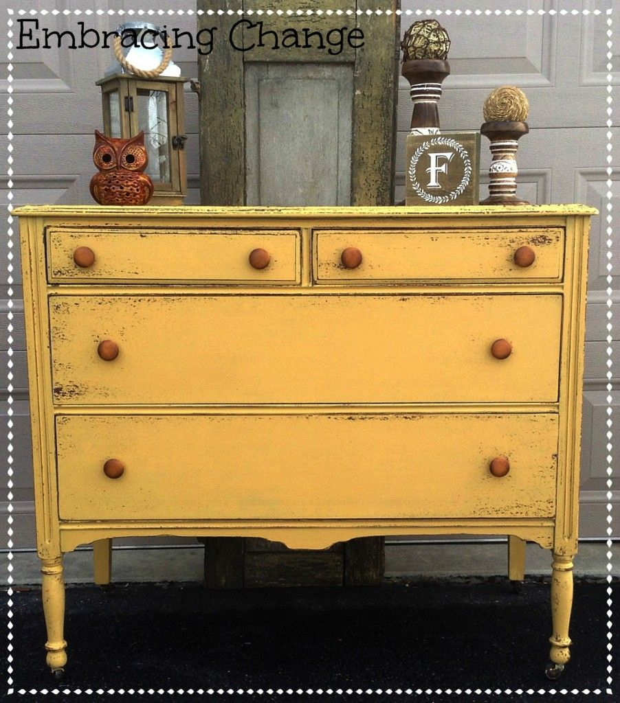 Chippy Antique Dresser In Miss Mustard Seed's Mustard Seed