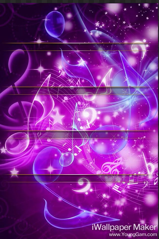 IPhone home screen. Purple music notes with thin gold icon ...