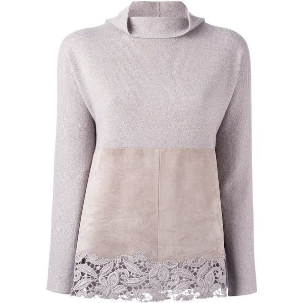 Fabiana Filippi lace detail jumper (6.170 RON) ❤ liked on Polyvore featuring tops, sweaters, pink, leather jumper, leather top, beige top, beige sweater and jumpers sweaters