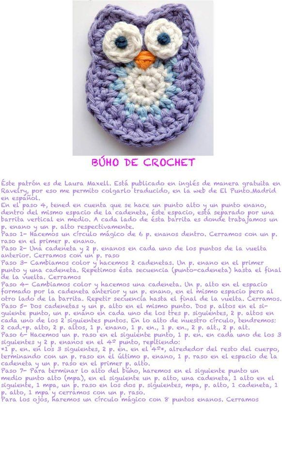 buho de crochet ✿⊱╮Teresa Restegui http://www.pinterest.com ...