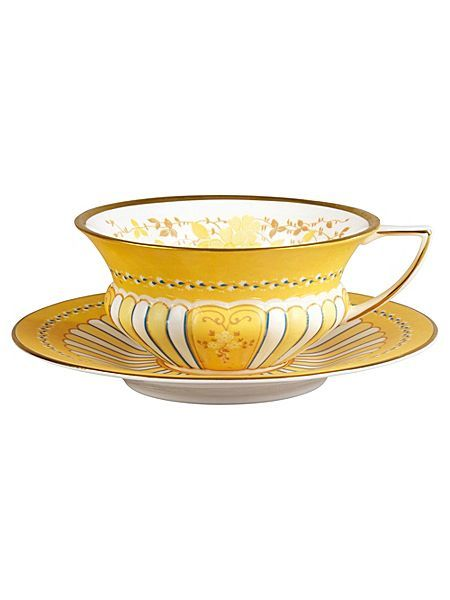 Harlequin ribbon cup & saucer set yellow match with my yellow radio and sipping a tea from this beautiful cup....is splendid #houseoffraser