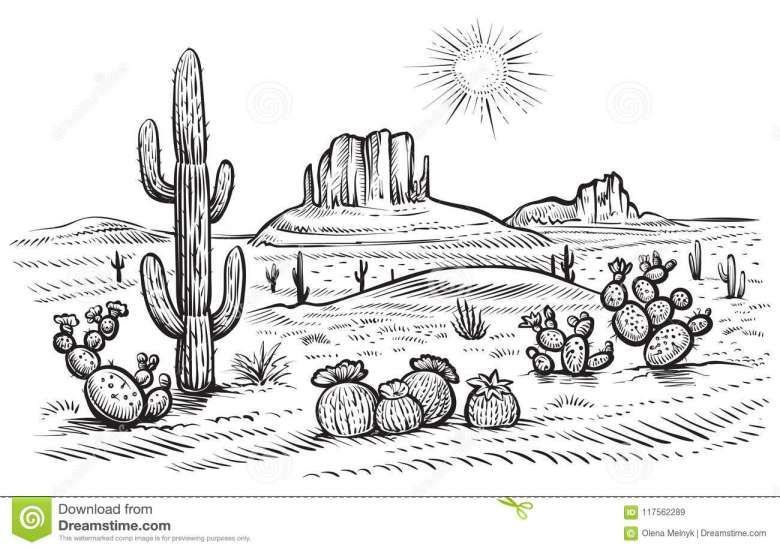 10+ Desert Landscape Line Drawing - Scenery Drawing - Drawingpencilwiki.com#desert #drawing #drawingpencilwikicom #landscape #line #scenery