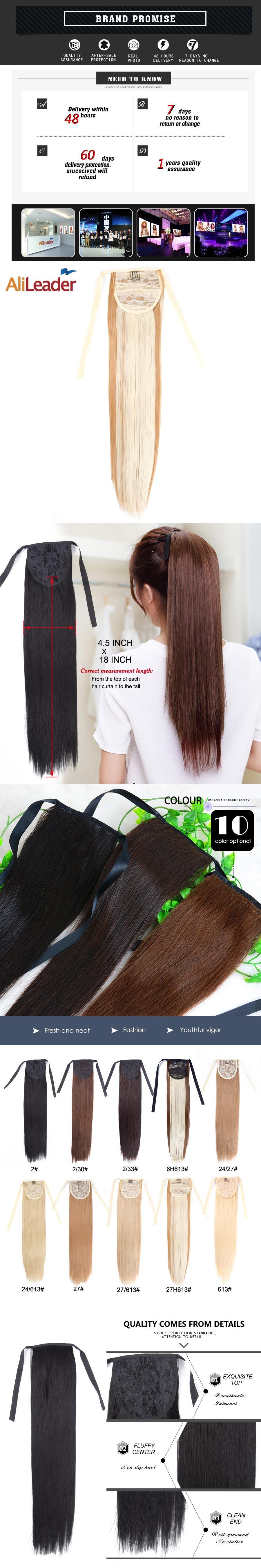 Alileader False Hair Tress Clip In Ponytail Blonde Brown White Black