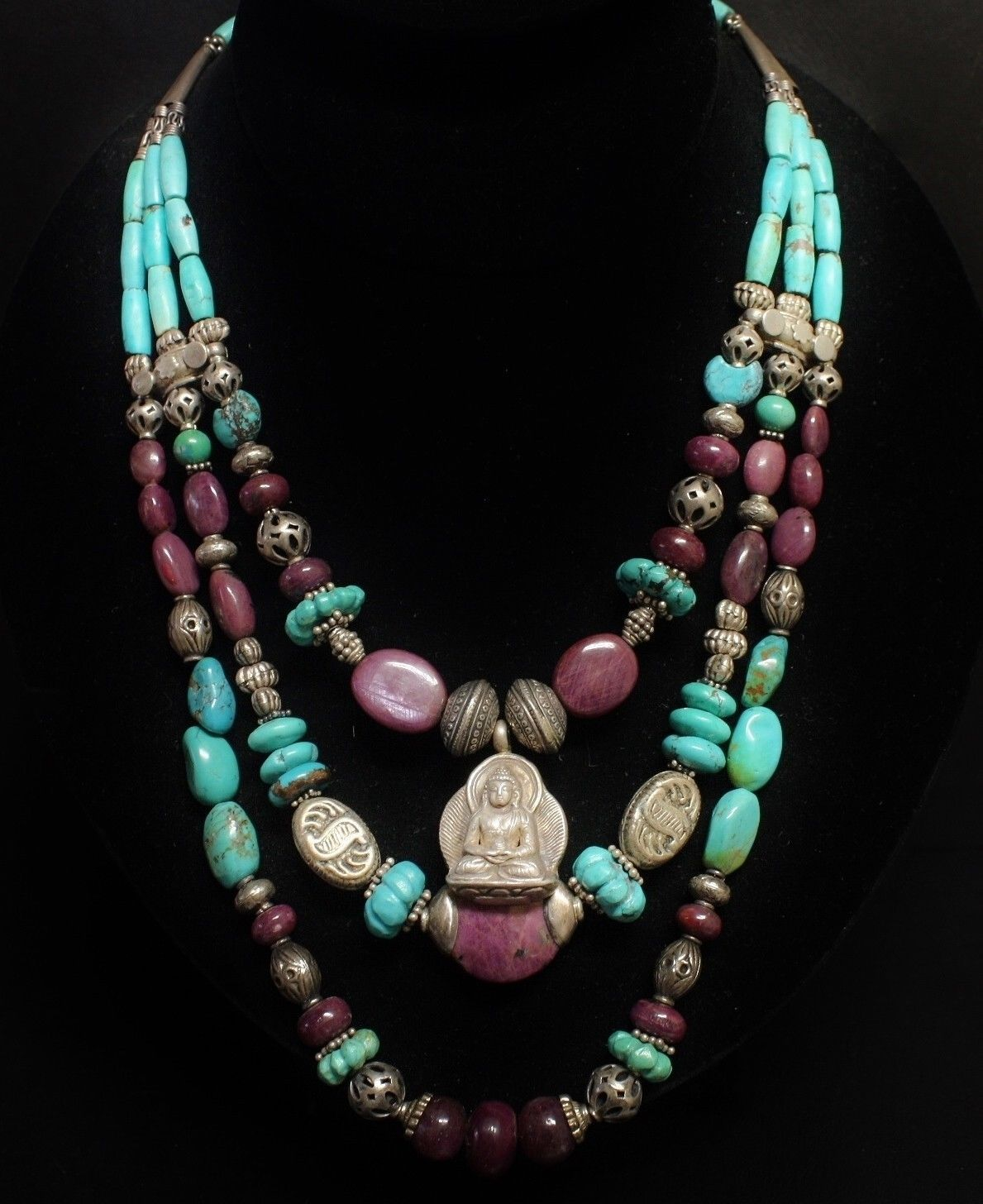 Turquoise, amethyst and silver Buddha amulet necklace