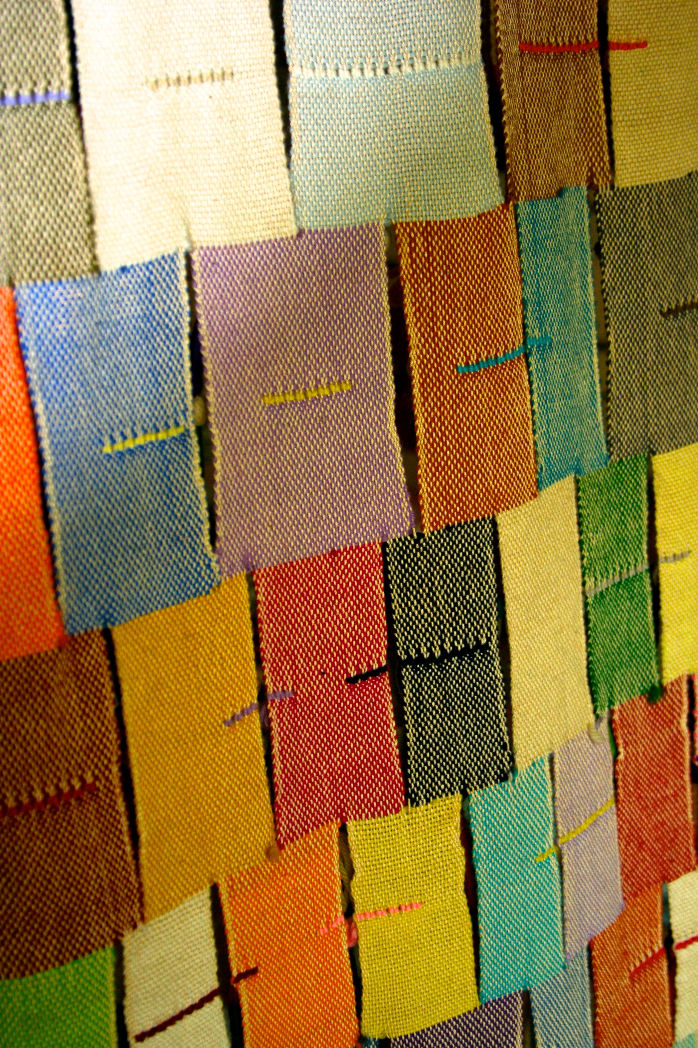 hand woven backing to Angelo Testa wall hanging.