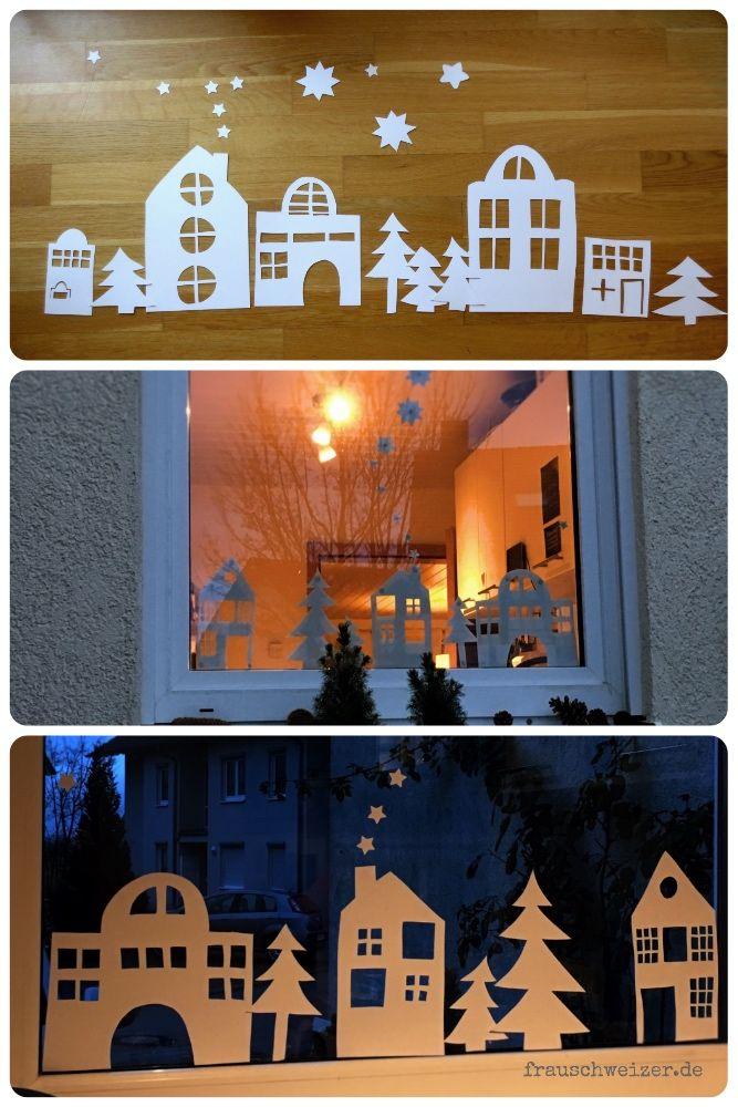 Wie Bastelt Man Das Fensterbild Hauser Im Winter Fensterdeko Weihnachten Basteln Fensterdeko Weihnachten Fensterbilder Weihnachten