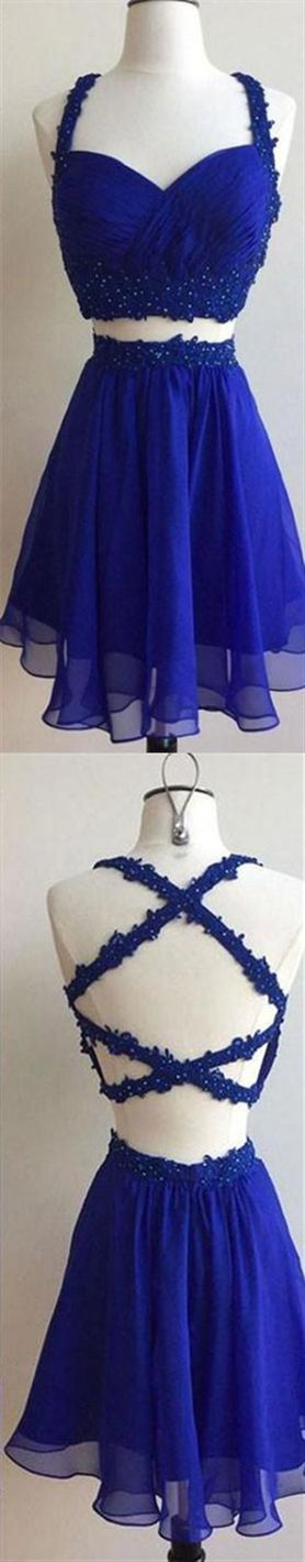 Royal Blue Two Piece Backless Chiffon Cocktail Dresses Affordable Homecoming Dresses #backlesscocktaildress