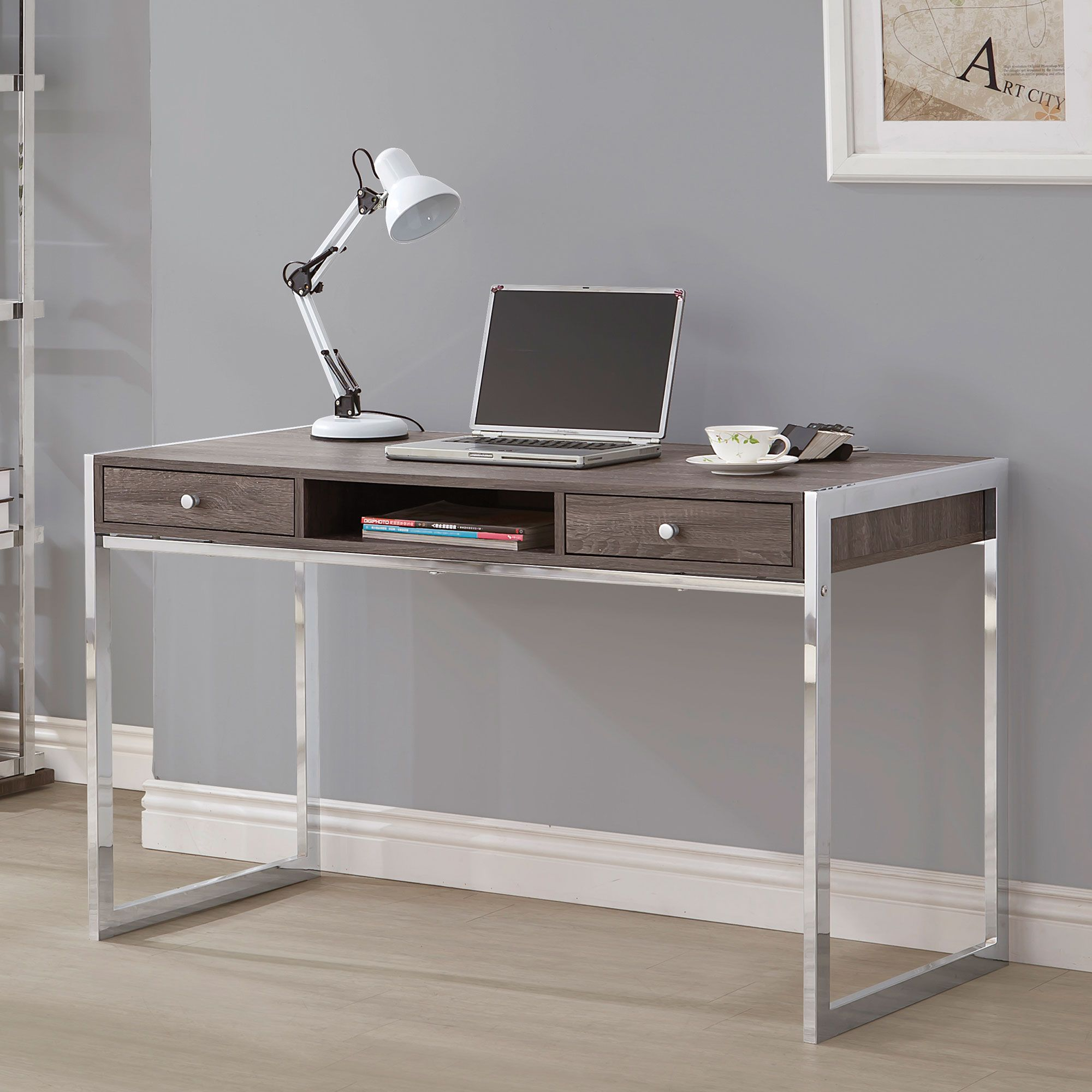 Coaster 801221 Weathered Grey And Chrome Writing Desk Computer Desks For Home Furniture Coaster Furniture