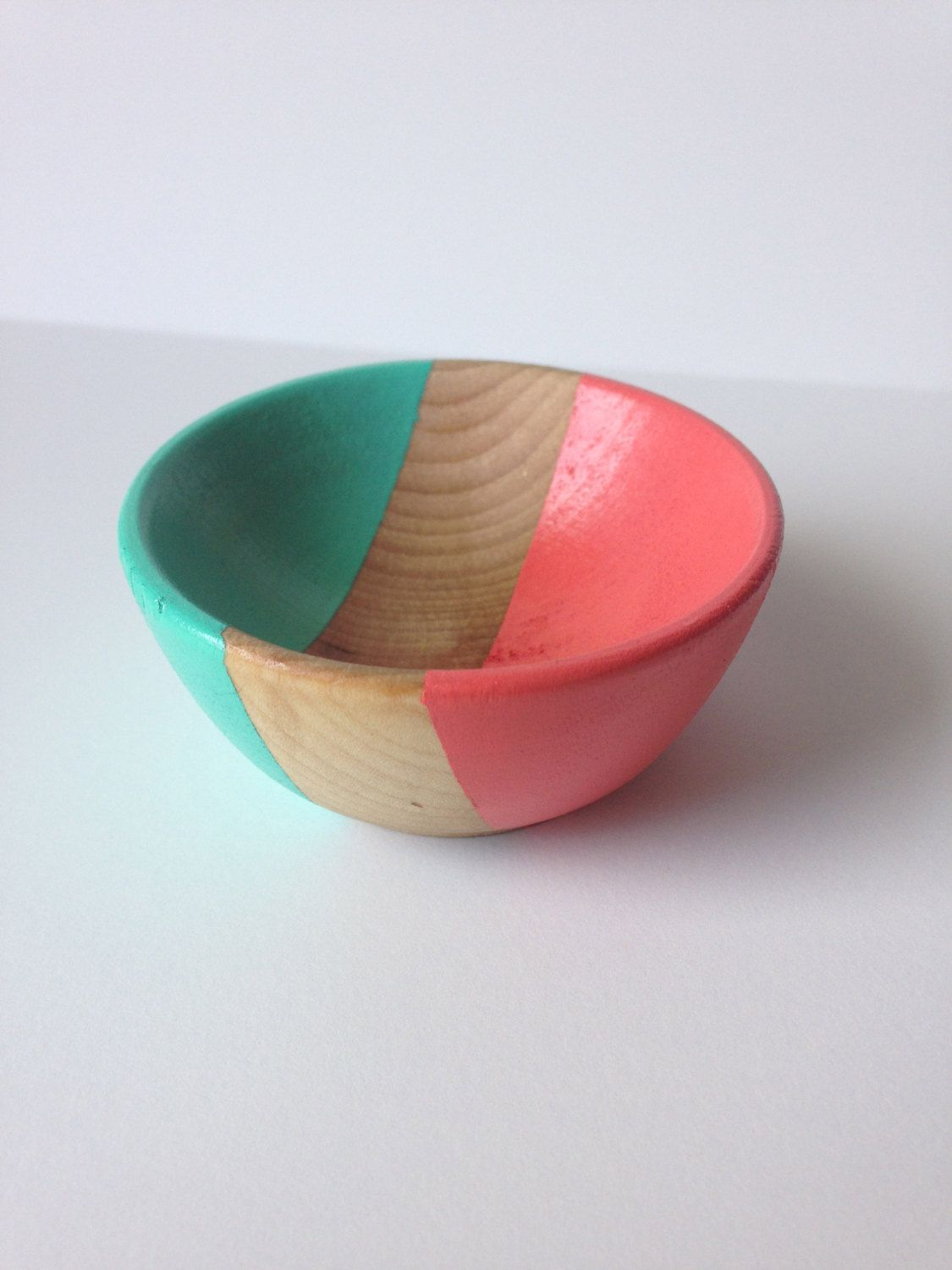 Eco friendly small wooden jewelry bowl, hand painted coral and turquoise, ring bowl, earring bowl, jewelry organization by ChapterIIICreations on Etsy