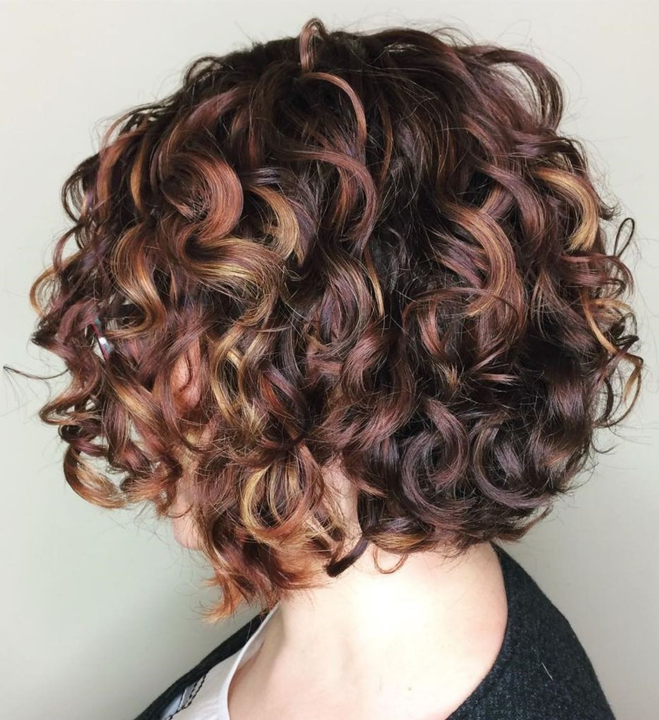 Brown Curly Bob With Highlights