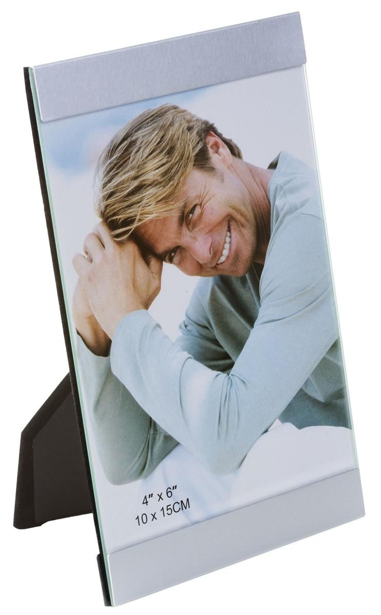4 x 6 Picture Frame for Tabletop Use, with Border on 2 Sides ...